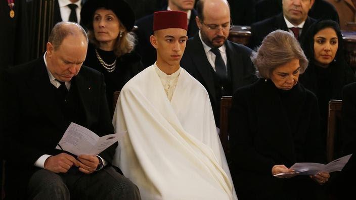 Le prince Albert de Monaco, le prince Hassan du Maroc et la reine Sofia d'Espagne